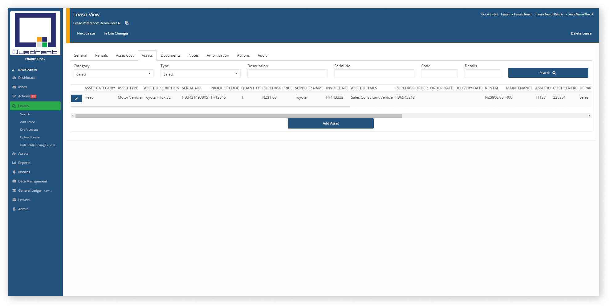 Asset Tab in lease view